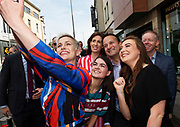17/05/2019 repro Free:  Anna David Portarlington and Clodagh McGivern from Clonmel joined MEP Candidate Maria Walsh, Taoiseach Leo Varadkar and Hildegarde Naughton TD and Ciaran Cannon TD  for a selfie in Galway as the team canvassed the town and visited the Portershed  which celebrated it's third Birthday. Photo:Andrew Downes, Xposure