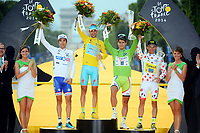 Sykkel<br /> green jersey SAGAN Peter (SVK - Cannondale), yellow jersey NIBALI Vincenzo (ITA - Astana Pro team), mountain jersey MAJKA Rafal (POL - Team TINKOFF-SAXO) and white jersey PINOT Thibaut (FRA - FDJ.fr)  pictured with the yellow jersey during the final podium ceremony of the 101th edition of the Tour de France 2014 from Evry  Paris (137,5 km) *** FRANCE 27/07/2014 Biker Pierre Velaerts <br /> <br /> Norway only
