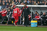 Jurgen Klopp , the Liverpool manager looks on as Brad Smith of Liverpool (44) walks off after being sent off.   Barclays Premier league match, Swansea city v Liverpool  at the Liberty Stadium in Swansea, South Wales on Sunday 1st May 2016.<br /> pic by  Andrew Orchard, Andrew Orchard sports photography.