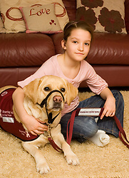 Evie with her hearing dog Gem 9th February 2009 © Paul David Drabble