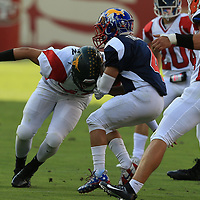 (Photograph by Bill Gerth/ for SVCN/6/24/17) Leigh #48 Zach Draxton moves in for the tackle in the Charie Wedemeyer All Star Game at Levi Stadium, San Jose CA on 6/24/17. (North 13 South 13)