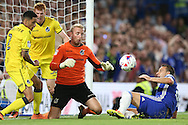 Goalkeeper Steve Mildenhall of Bristol Rovers saves a shot from  John Terry, the Chelsea captain . EFL Cup 2nd round match, Chelsea v Bristol Rovers at Stamford Bridge in London on Tuesday 23rd August 2016.<br /> pic by John Patrick Fletcher, Andrew Orchard sports photography.