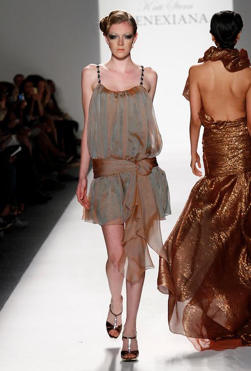 Models walk the runway for Vanexiana Spring 2012 fashion show during New York Fashion Week, NYC, NY, USA. 10/09/2011 Kevin Kane/CatchlightMedia