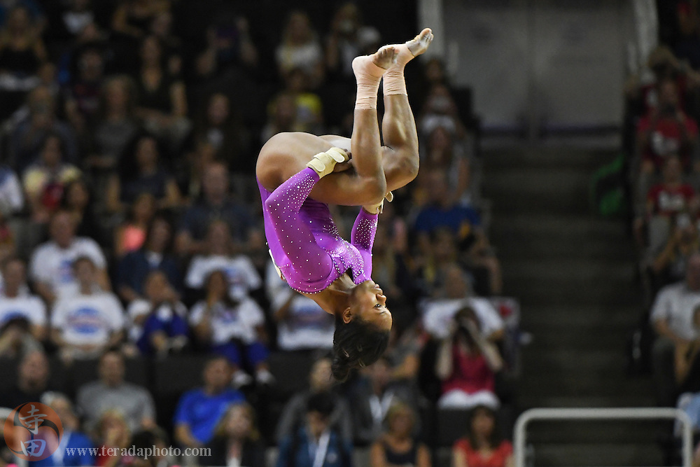 July 8, 2016; San Jose, CA, USA; Gabby Douglas, from Tarzana, CA, during the floor exercise in the women's gymnastics U.S. Olympic team trials at SAP Center.