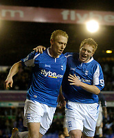 Photo: Glyn Thomas.<br />Birmingham City v Reading. The FA Cup. 07/02/2006.<br />Birmingham's Mikael Forssell (L) celebrates after scoring his side's opening goal with Matthew Birley.