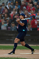 KELOWNA, CANADA - JUNE 28: NHL Vancouver Canucks player swings the bat during the opening charity game of the Home Base Slo-Pitch Tournament fundraiser for the Kelowna General Hospital Foundation JoeAnna's House on June 28, 2019 at Elk's Stadium in Kelowna, British Columbia, Canada.  (Photo by Marissa Baecker/Shoot the Breeze)