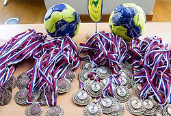 Medals of RZS during Slovenian handball Cup semifinal draw, on February 25, 2013 in Pivovarna Lasko, Slovenia. (Photo By Vid Ponikvar / Sportida)