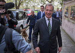 © Licensed to London News Pictures. 12/05/2016. London, UK. UKIP Leader Nigel Farage leaves television studios near Parliament.  Vote Leave is considering taking legal action as ITV decided to put Nigel Farage up against David Cameron in an EU referendum TV debate. Photo credit: Peter Macdiarmid/LNP