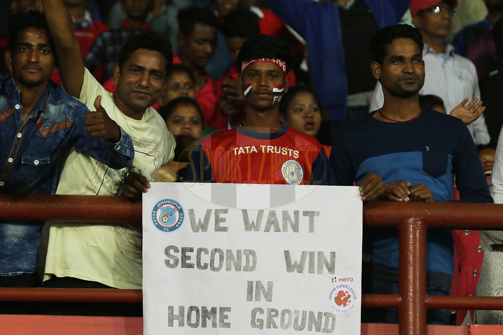 Fans during match 25 of the Hero Indian Super League 2018 ( ISL ) between Jamshedpur FC and FC Goa held at JRD Tata Sports Complex, Jamshedpur, India on the 1st November  2018<br /> <br /> Photo by Saikat Das /SPORTZPICS for ISL