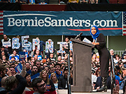 02 MARCH 2020 - ST. PAUL, MINNESOTA: US Representative ILHAN OMAR (D-MN) speaks at a Bernie Sanders Get Out the Vote rally in the RiverCentre in St. Paul. Rep. Omar endorsed Sanders for President and has been a Sanders surrogate on the campaign trail. More than 8,400 people attended the rally. Minnesota is a Super Tuesday state this year and Minnesotans will go to the polls Tuesday. Minnesota Sen. Amy Klobuchar was expected to win her home state, but she dropped out early Monday, March 2.         PHOTO BY JACK KURTZ
