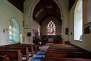 Historic interior of Washbrook church, Suffolk, England, UK