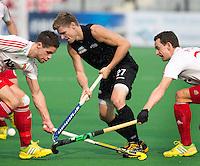 NEW DELHI - Stephen Jenness van Nieuw Zeeland   tijdens de derde poulewedstrijd in de finaleronde van de Hockey World League tussen de mannen van Nieuw-Zeeland en Engeland.  ANP KOEN SUYK