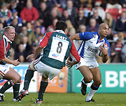 Leicester, England UK., 9th October 2004,  Zurich Premiership Rugby, Leicester Tigers vs Bath Rugby, Welford Road,<br /> [Mandatory Credit: Peter Spurrier/Intersport Images],<br /> <br /> <br /> <br /> <br /> <br /> Leicester, England UK., 9th October 2004,  Zurich Premiership Rugby, Leicester Tigers vs Bath Rugby, Welford Road,<br /> [Mandatory Credit: Peter Spurrier/Intersport Images],<br /> <br /> Baths, Brendan Daniel, running  through mid field.