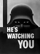 He's watching you. This American poster, designed by Glen Grobe, well-known artist of Westport, Connecticut 1940'3 poster urging vigilance against Germany World War II