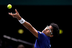 PARIS, Nov. 2, 2017  Chung Hyeon of South Korea serves the ball to Rafael Nadal of Spain during the second round match at the ATP World Tour Masters 1000 Indoor tennis tournament in Paris, France, Nov. 1, 2017. Chung Hyeon lost 0-2. (Credit Image: © Chen Yichen/Xinhua via ZUMA Wire)