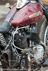 Les Covington's custom Harley-Davidson Flathead in the Wrench Magazine old school bike show at the Easyriders Saloon during the annual Sturgis Black Hills Motorcycle Rally. SD, USA. August 6, 2014.  Photography ©2014 Michael Lichter.