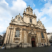 Front of the Church of Saint John the Baptist at the Béguinage, 17th century Flemish Baroque style Roman Catholic Church in central Brussels, Belgium. It was originally part of the beguinage Notre-Dame de la Vigne.