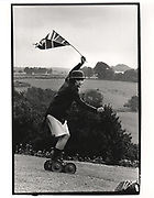 Crispin Balfour, Dangerous Sports club, tea party. At the home of the Dutch Ambassador. Gloucestershire. 1981