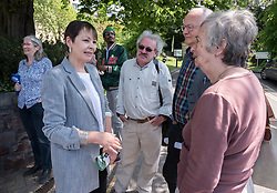 © Licensed to London News Pictures. 20/05/2019. Bristol, UK. CAROLINE LUCAS MP, Green Party (at left). The Green Party hold a rally at the University of Bristol Royal Fort Gardens as part of campaigning in the elections for the European Parliament. Speakers included Green MP Caroline Lucas, and south west England candidates Molly Scott Cato and Carla Denyer. Photo credit: Simon Chapman/LNP