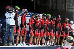 Spanish nacional cycling team during the Men's Elite Road Race at the UCI Road World Championships on September 25, 2011 in Copenhagen, Denmark. (Photo by Marjan Kelner / Sportida Photo Agency)