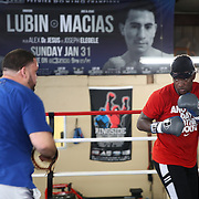 Professional boxer Erickson Lubin trains at the School of Hard Knocks boxing gym in preparation for his upcoming world title fight on Monday, August 18, 2017 in Orlando, Florida.  (Alex Menendez via AP)