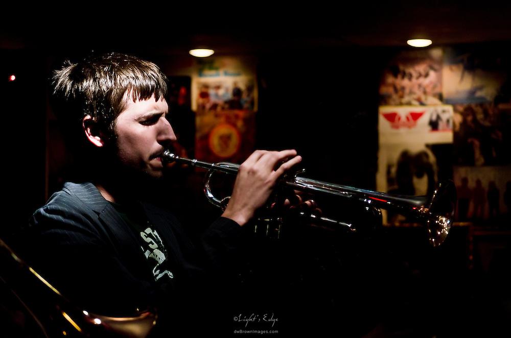 Matt Hartman on trumpet during a Rowan University Jazz at The Bus Stop Music Cafe gig.