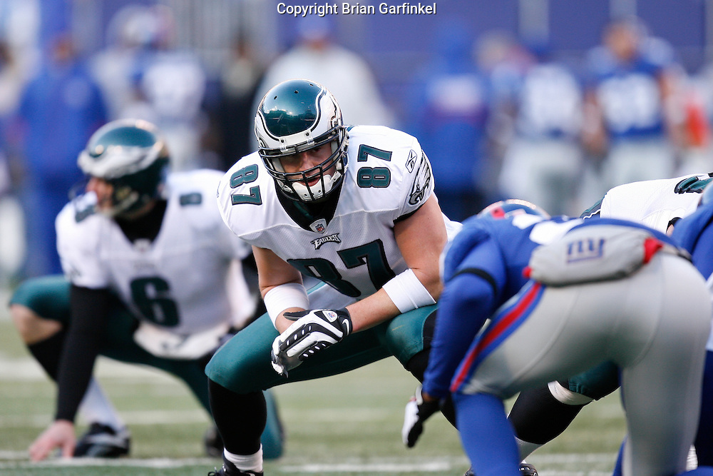 11 Jan 2009: Philadelphia Eagles tight end Brent Celek #87 before a field goal attempt during the game against the New York Giants on January 11th, 2009.  The  Eagles won 23-11 at Giants Stadium in East Rutherford, New Jersey.