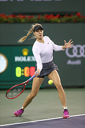 March 7, 2019 - Indian Wells, CA, U.S. - INDIAN WELLS, CA - MARCH 07: Eugenie Bouchard (CAN) hits a forehand during the BNP Paribas Open on March 7, 2019 at Indian Wells Tennis Garden in Indian Wells, CA. (Photo by George Walker/Icon Sportswire) (Credit Image: © George Walker/Icon SMI via ZUMA Press)