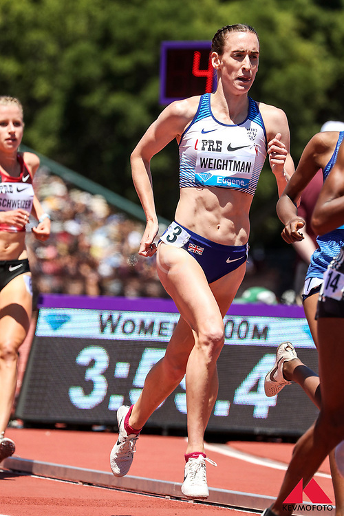 Laura Weightman, Great Britain, races to 5th place in womens 3000 meters at 2019 The Prefontaine Classic Track & Field<br /> IAAF Diamond League