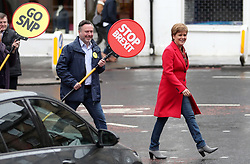 First Minister Nicola Sturgeon campaigns alongside lead SNP European election candidate Alyn Smith MEP (centre) and Deirdrie Brock MP (left) in Leith, Edinburgh.