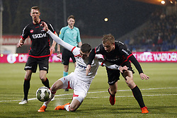(L-R), Andrija Novakovich of Telstar, Robert van Koesveld of Helmond Sport during the Jupiler League match between Telstar and Helmond Sport at the Tata steel stadium on March 09, 2018 in Velsen-Zuid, The Netherlands