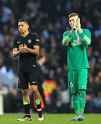 Marquinhos of Paris Saint-Germain and Kevin Trapp applaud the fans - Mandatory byline: Matt McNulty/JMP - 07966386802 - 12/04/2016 - FOOTBALL - Etihad Stadium -Manchester,England - Manchester City v Paris Saint-Germain - UEFA Champions League - Quarter Final Second Leg