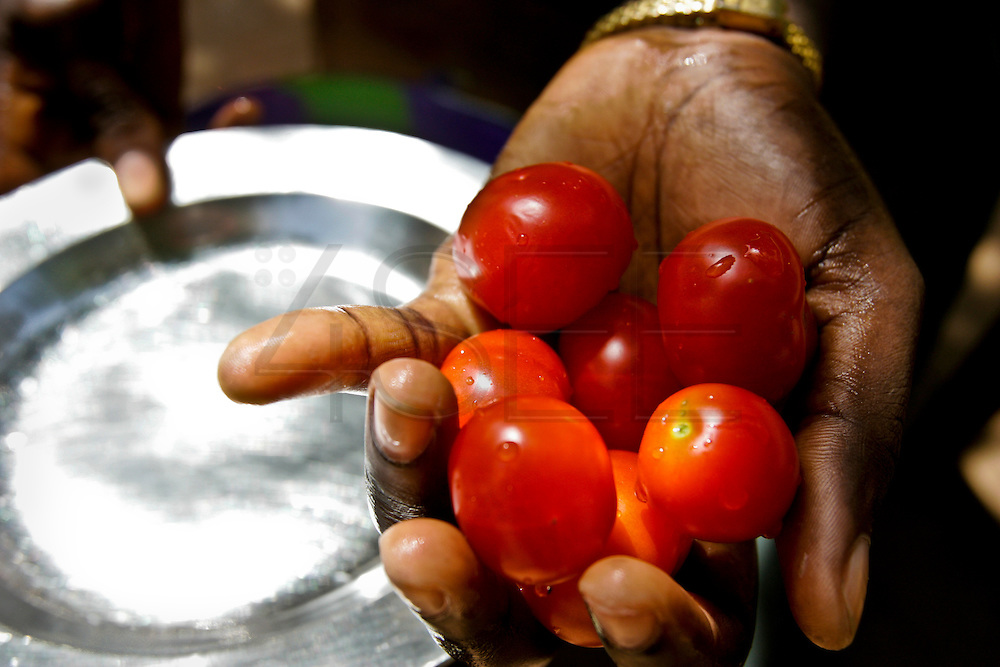 A woman cooking lunch with red tomatoes at the Djalikunda center, an NGO house near K-3 village.
