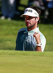 Bubba Watson celebrates his shot to the 14th hole on the final round of the PGA Tour Genesis Open golf tournament at Riviera Country Club in the Pacific Palisades area of Los Angeles, the United States Sunday, February 18, 2018. Watson won the Genesis Open. (Credit Image: © Zhao Hanrong/Xinhua via ZUMA Wire)