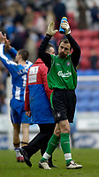 Photo: Jed Wee.<br />Wigan Athletic v Liverpool. The Barclays Premiership. 11/02/2006.<br />Liverpool's Jerzy Dudek applauds the fans at the end of the game.