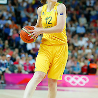 09 August 2012: Australia Belinda Snell looks to pass the ball during 86-73 Team USA victory over Team Australia, during the women's basketball semi-finals, at the 02 Arena, in London, Great Britain.
