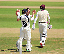 James Fuller of Middlesex celebrates the wicket of Jamie Overton.  - Mandatory by-line: Alex Davidson/JMP - 13/07/2016 - CRICKET - Cooper Associates County Ground - Taunton, United Kingdom - Somerset v Middlesex - Day 4 - Specsavers County Championship Division One