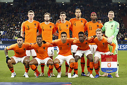 (Top Row L-R) Matthijs de Ligt of Holland, Daley Blind of Holland, Marten de Roon of Holland, Virgil van Dijk of Holland, Ryan Babel of Holland, Holland goalkeeper Jasper Cillessen<br /><br />(Front row L-R) Memphis Depay of Holland, Georginio Wijnaldum of Holland, Kenny Tete of Holland, Quincy Promes of Holland, Frenkie de Jong of Holland during the UEFA Nations League A group 1 qualifying match between Germany and The Netherlands at the Veltins Arena on November 19, 2018 in Gelsenkirchen, Germany