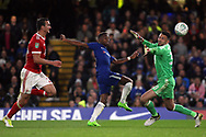 Charly Musonda of Chelsea (c) takes a shot at goal. Carabao Cup 3rd round match, Chelsea v Nottingham Forest at Stamford Bridge in London on Wednesday 20th September 2017.<br /> pic by Steffan Bowen, Andrew Orchard sports photography.