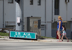 A sign brought down by the winds of Hurricane Irma in Fort Lauderdale, FL, USA is seen on Monday, September 11, 2017. Photo by Joe Cavaretta/Sun Sentinel/TNS/ABACAPRESS.COM
