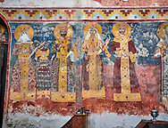 Pictures & images of the Byzantine fresco panels on the north wall of the Gelati Georgian Orthodox Church of the Virgin, 1106, depicting scenes from left to right: Queen Rusudan, Prince Bagrat, King George II, Queen Helen, King Bagrat III of Imereti.  The medieval Gelati monastic complex near Kutaisi in the Imereti region of western Georgia (country). A UNESCO World Heritage Site. .<br /> <br /> Visit our MEDIEVAL PHOTO COLLECTIONS for more   photos  to download or buy as prints https://funkystock.photoshelter.com/gallery-collection/Medieval-Middle-Ages-Historic-Places-Arcaeological-Sites-Pictures-Images-of/C0000B5ZA54_WD0s<br /> <br /> Visit our REPUBLIC of GEORGIA HISTORIC PLACES PHOTO COLLECTIONS for more photos to browse, download or buy as wall art prints https://funkystock.photoshelter.com/gallery-collection/Pictures-Images-of-Georgia-Country-Historic-Landmark-Places-Museum-Antiquities/C0000c1oD9eVkh9c