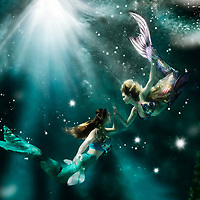 No longer rivals, these two fishy females meet out for afternoon tea... but realize tea is impossible underwater, so they bubble talk about their tails. Mermaids are weird folk.