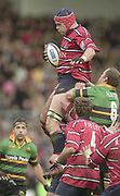 Northampton, England, Franklin's Gardens, Nothamptonshire.   Zurich Premiership <br /> Northampton Saints v Gloucester RFC<br /> Mark Cornwell collects the line out ball    [Mandatory Credit:Peter SPURRIER/Intersport Images]