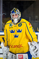 KELOWNA, BC - DECEMBER 18:  Adam Åhman # 1 of Team Sweden skates on the ice during warm up against the Team Russia at Prospera Place on December 18, 2018 in Kelowna, Canada. (Photo by Marissa Baecker/Getty Images)***Local Caption***