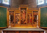 Altar reredos in chapel of Saint Saviour, Norwich Cathedral, Norfolk, England, UK