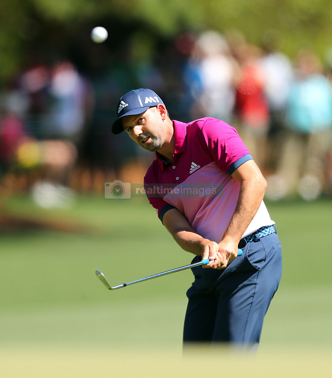 Sergio Garcia chips onto the 1st green during the third round of the Masters Tournament at Augusta National Golf Club in Augusta, Ga., on Saturday, April 8, 2017. (Photo by Curtis Compton/Atlanta Journal-Constitution/TNS) *** Please Use Credit from Credit Field ***