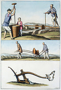 Top: Pounding rice in a pestel and mortar. Mid: Chinese seed drill. Bot: Chinese plough. Aquatint published Rome c1830.