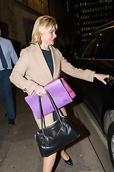 © Licensed to London News Pictures. 08/01/2018. London, UK. JUSTINE GREENING, Secretary of State for Education leaves the Department for Education in London this evening. . Photo credit: Vickie Flores/LNP