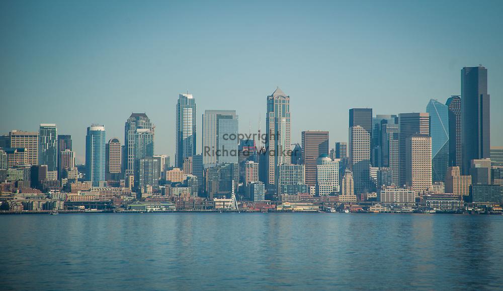 2017 NOVEMBER 06 -  Downtown Seattle skyline seen from Alki, Seattle, WA, USA. By Richard Walker