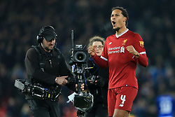 5th January 2018 - FA Cup - 3rd Round - Liverpool v Everton - Television (TV) cameras film Virgil van Dijk of Liverpool as he celebrates at full-time - Photo: Simon Stacpoole / Offside.